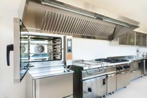 Professional kitchen made from stainless steel appliances